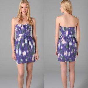 SHOSHANNA Monet Purple Print Strapless Dress 4